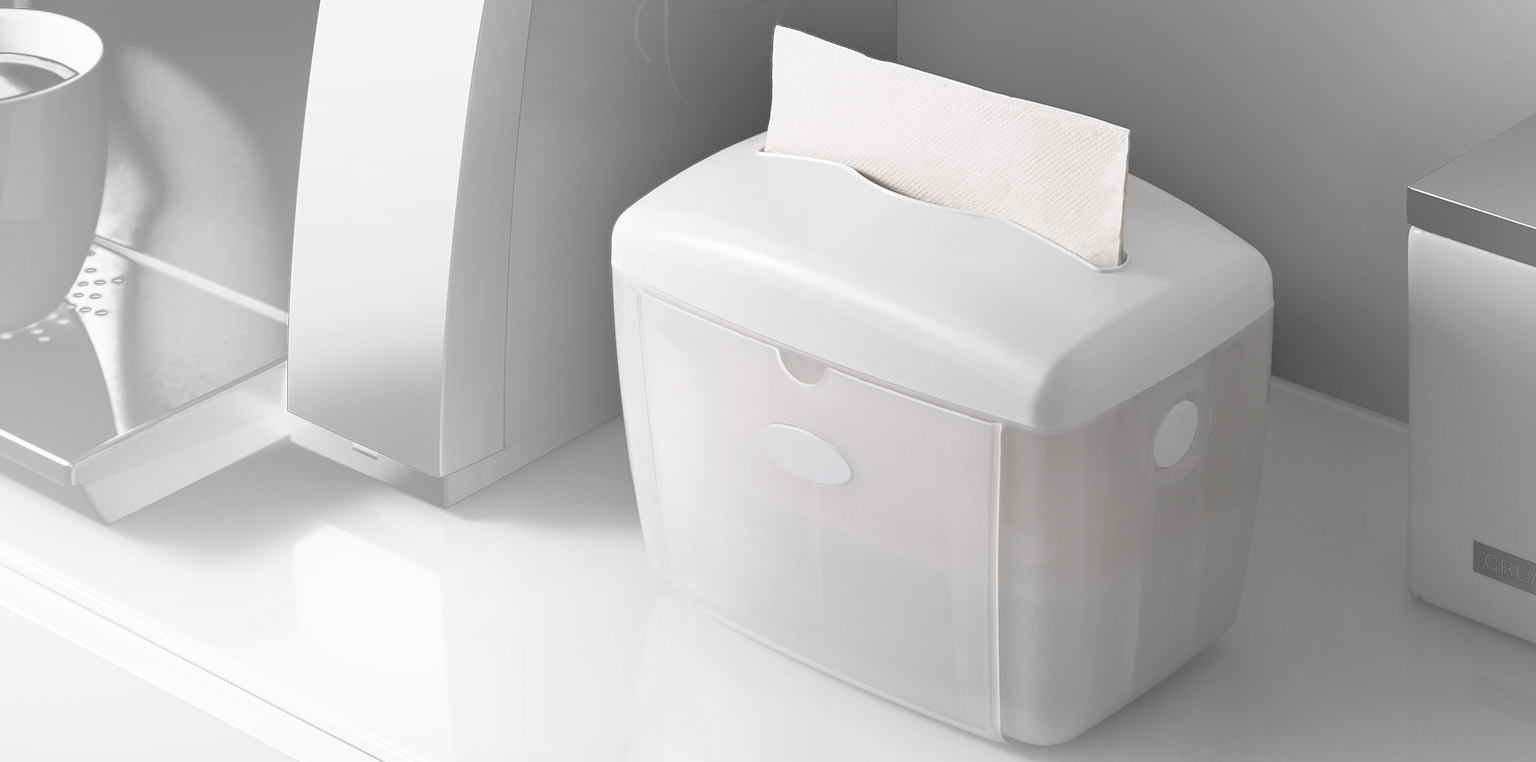 <h3>Napkin Dispensers</h3><h4>Dispenses one sheet at a time, fits most common table-top napkin brands</h4>