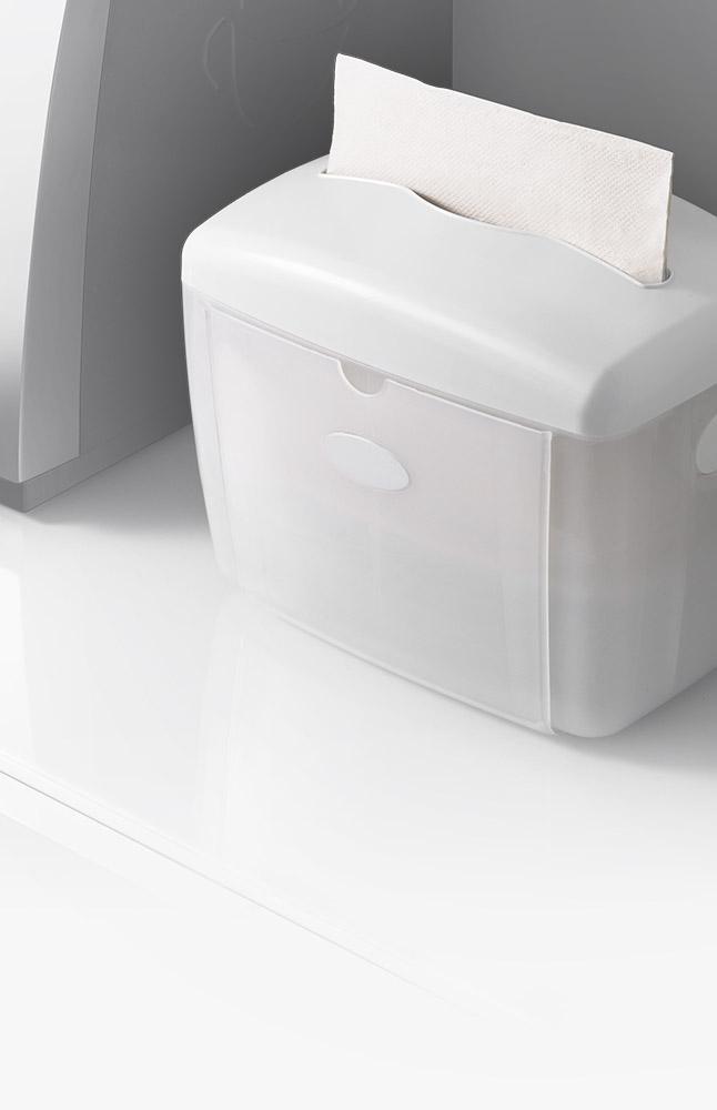 <h3>Dispensadores de servilletas</h3><h4>Entrega una hoja a la vez. Es compatible con las marcas más comunes de servilletas</h4>
