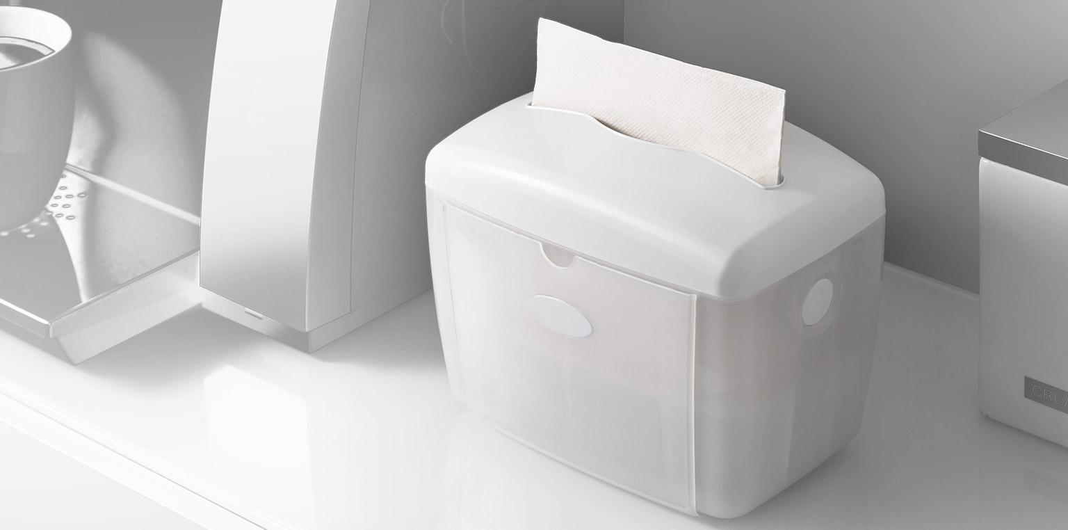 Dispensadores de servilletas  Entrega una hoja a la vez. Es compatible con las marcas más comunes de servilletas